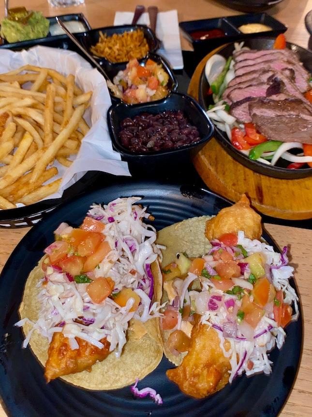 Fish tacos ($13) + Ribeye Fajita Platter ($38) + Season fries ($6)