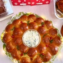 Christmas Brioche Wreath with Spinach Onion Cheese Dip