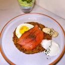 Rosti-Smoked Salmon with Sunny Side-Up