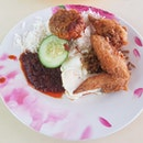 Nasi Lemak + Begedil (Fried Potato Patty)