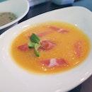 Zuppe di Melone - chilled melon soup w parma ham