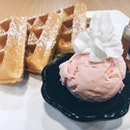 Homemade Waffles a la mode (with my choice strawberry cheesecake ice-cream) [$7.50]