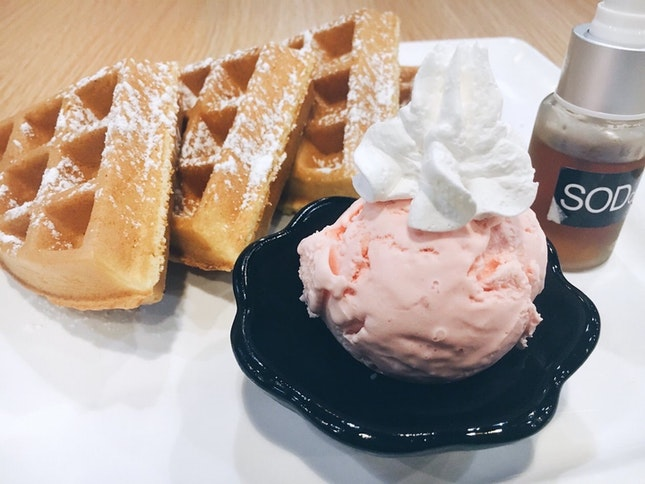 Homemade Waffles a la mode (with my choice strawberry cheesecake ice-cream) [$7.50]