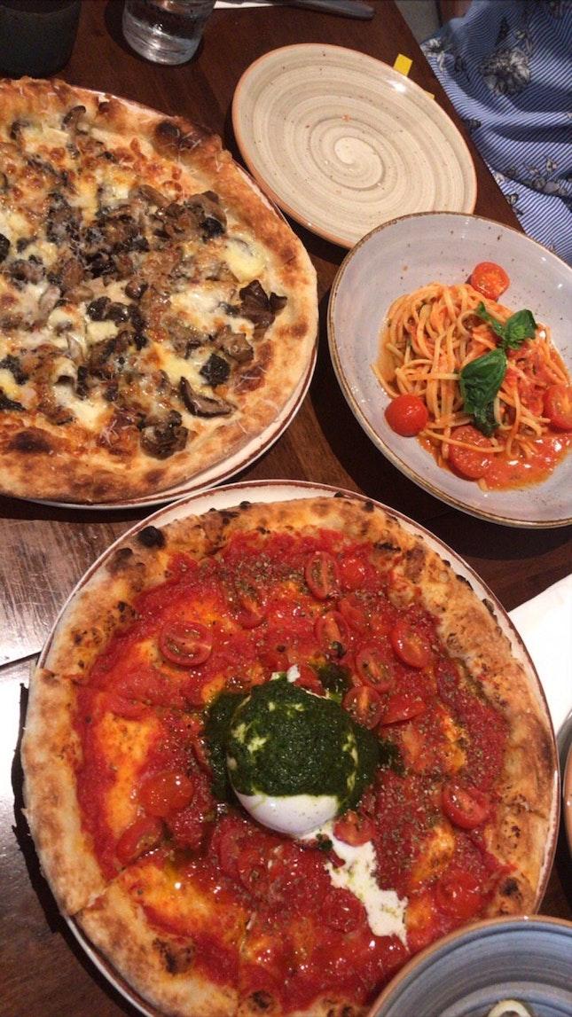 Burrata Pizza, Truffle Mushroom Pizza, Vegan Pasta