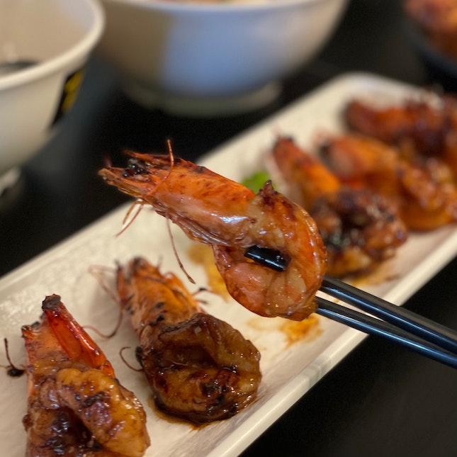 char grilled prawns ($8.90)