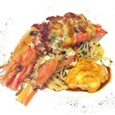 [AGLIO OLIO KING RIVER PRAWN S$19.90] - Aglio olio pasta served with King River prawn, wild mushrooms, onions, bacons and melted cheese, topped with poached egg.