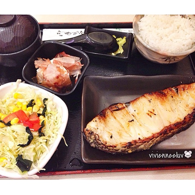 [Mero Saikyo Set S$16.50] - silver cod, comes with rice, miso soup, salad, tsukemono & kobachi.