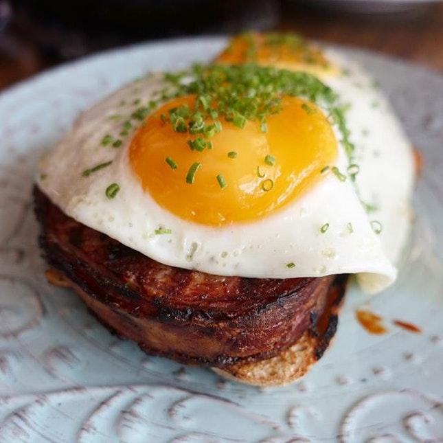 Bacon Meatloaf, bean stew, Sunny side up egg on wave.