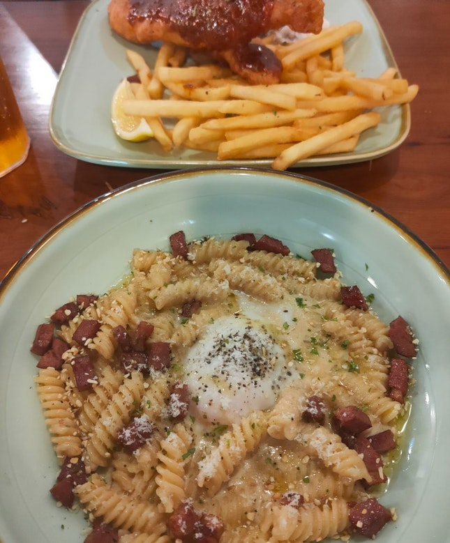 Bacon Carbonara and Sambal Fish and Chip