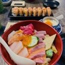 Chirashi Don and Aburi Salmon Roll