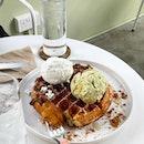 Waffles with Coconut & Pistachio Ice Cream