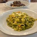 Prawn basil pesto pasta & Braised beef cheeks