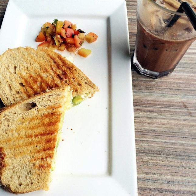 Chicken Avocado Sandwich with an ice Mocha #chicken #avocado #sandwich #mocha #coffee #food #instafood