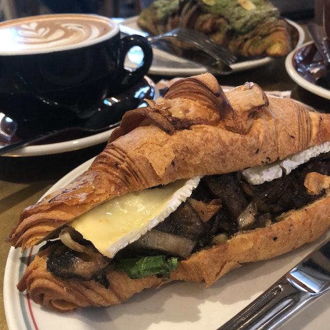 Brie and Roasted Mushroom Croissant