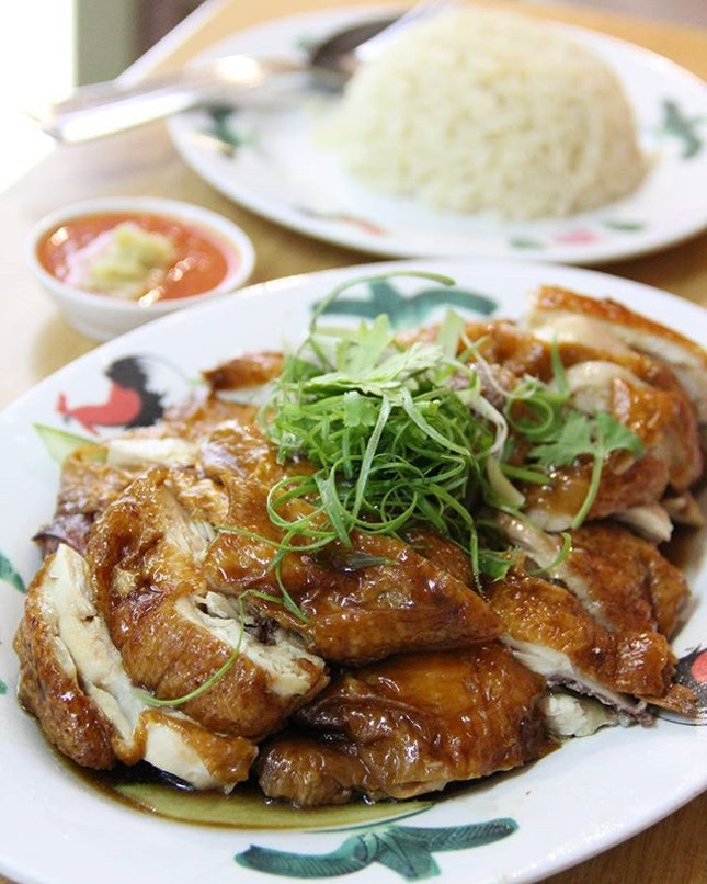 Roasted Chicken Rice  tender, juicy chicken drenched w tasty sauce .
