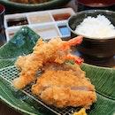 Fried Shrimp & Thick Slice Pork Loin Cutlet Set Meal ..delicious n juicy breaded pork cutlets..