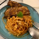 Teriyaki Chicken With Tomato Pasta $9.90++