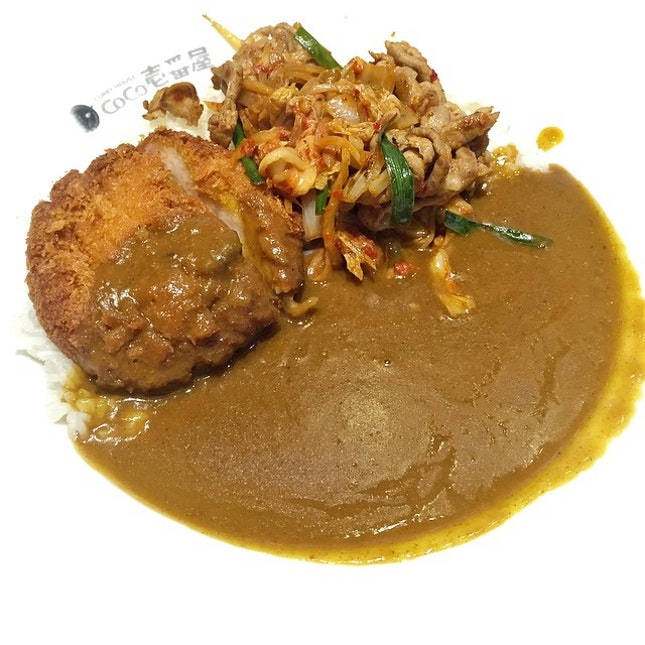 Favorite combo - kimchi pork + shrimp cutlet