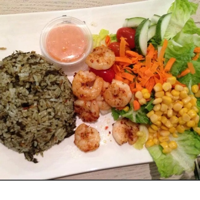 Olive Rice With Char Grill Prawn & Me So Spicy Dressing
