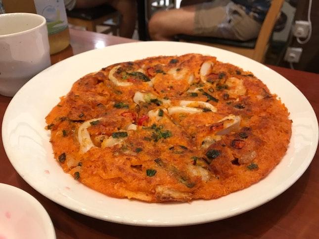 Kimchi Seafood Pancake ($14)