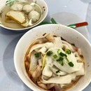 Flat Rice Noodles with vinegar & sambal chilli  _ Adore their handmade fishballs.