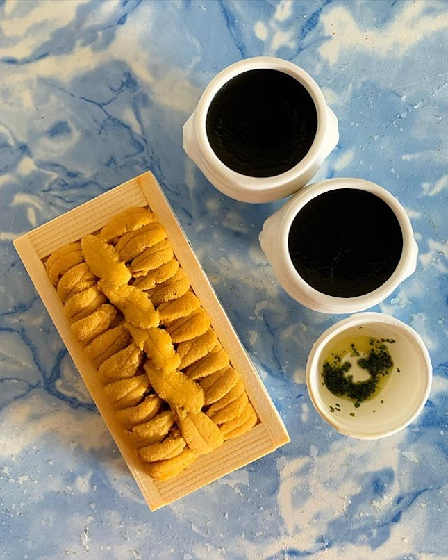Uni Pudding Set for 2 from Lolla @lollasg  _ @lollasg signature Uni pudding is now available for takeout & delivery.