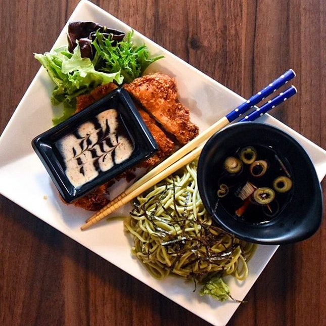 Lunch after my second physio session of the week, and one step closer to solving my back issues - $10 set lunch, Pork Katsu with soba from @bar.bar.black.sheep!