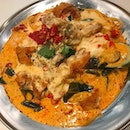Tom yum salted eggs seafood pasta with chicken cutlets, if you are spicy lover..