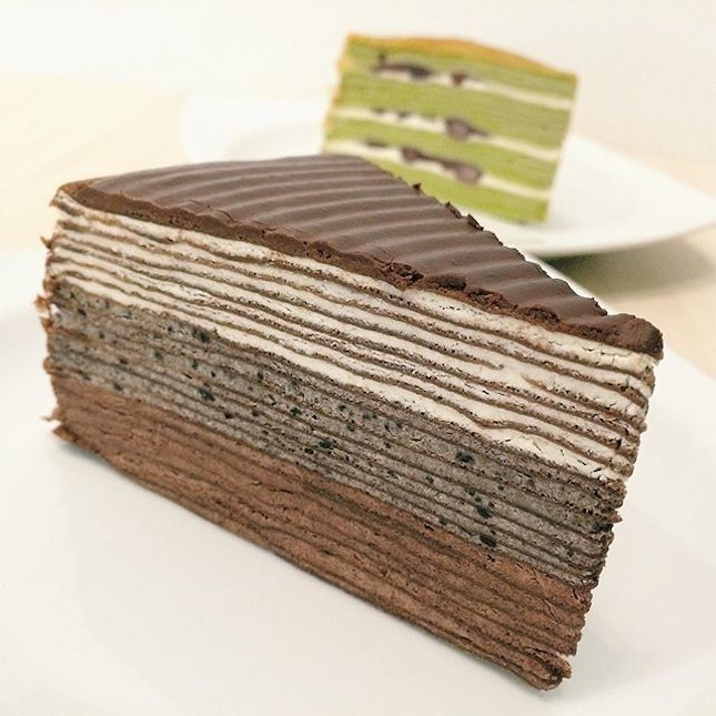 The Black Mille Crepe Cake From Champs Patisserie A Combination Of Vanilla Oreo And