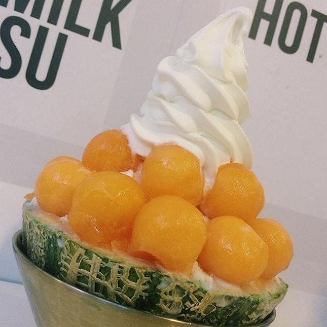 Melon Snow Milk Bingsu from Snowman Desserts.