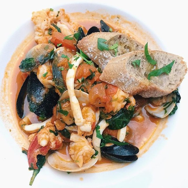 Cacciucco from In ITALY – seafood casserole with lobster, garoupa, prawns, squid, imported mussels, clams, tomatoes and chilli.