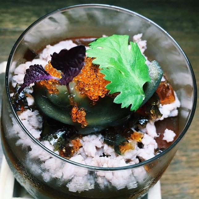 Savoury soya milk panna cotta with shoyu jelly, oriental minced pork and century egg from The East Bureau.