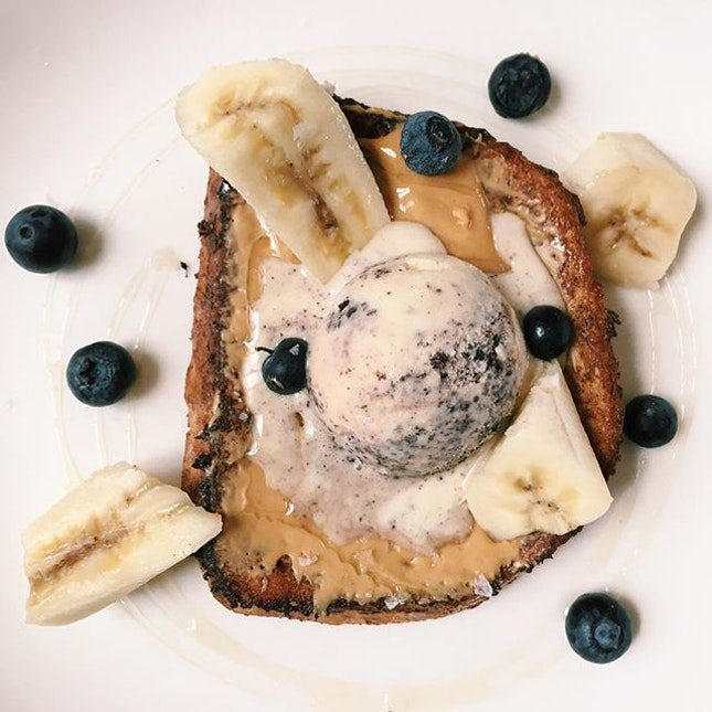 Cinnamon French Toast from Flutes Restaurant - peanut butter, honey, cookies and cream ice cream.