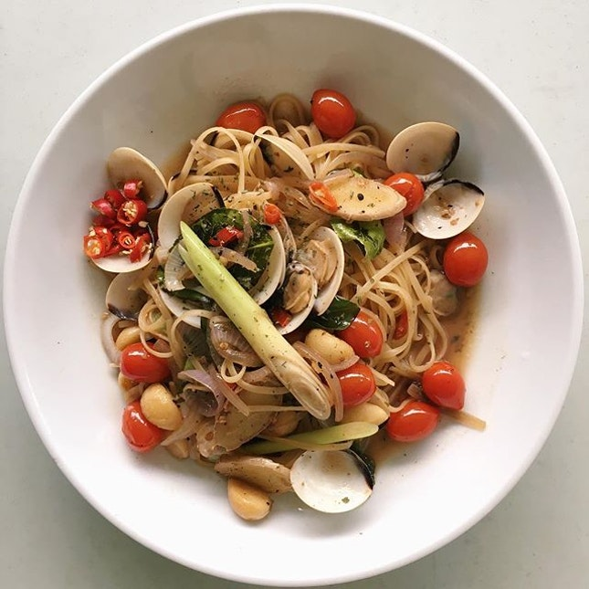 Tom Yum Pasta Vongole from The Garden Slug - steamed clams and linguine tossed in a briny, winey broth of lime leaves, lemongrass, chilli padi and ginger spice.