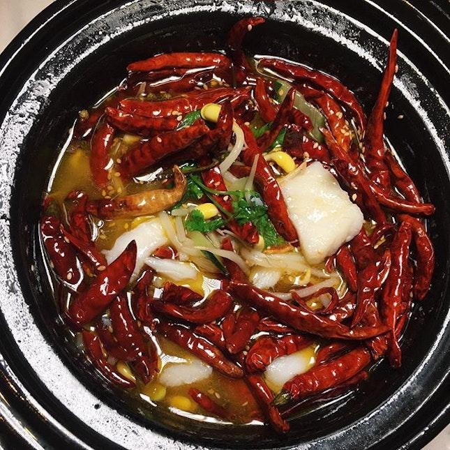 "Stewed fish fillet in super spicy Szechwan pepper sauce (""水煮鱼"") from Shisen Hanten in Mandarin Orchard."