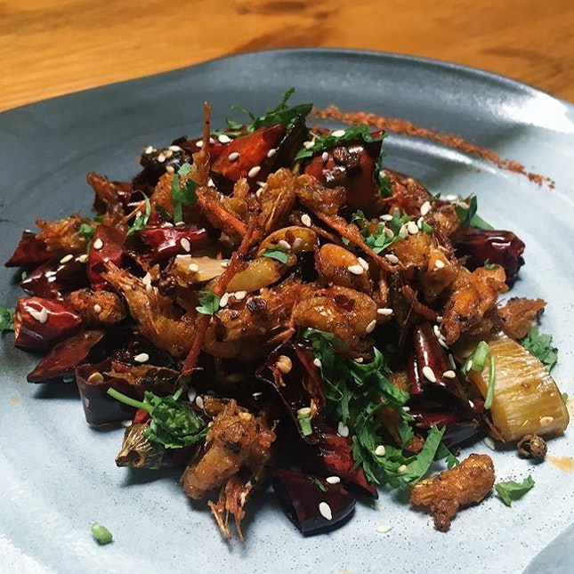 """""""Kawa Ebi Swim in the Chillies"""" (deep fried river shrimp stir-fried with Sichuan spice mix) from Birds of a Feather's new menu which launches 6 April 2017."""