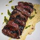 Salisbury Rubbed Skirt Steak with roasted garlic aioli and laksa pesto from The Guild Singapore (@theguildsingapore).