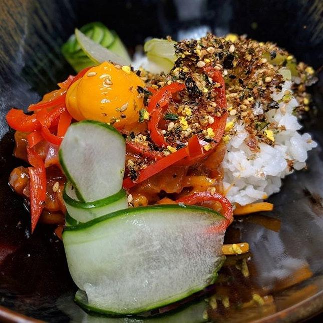Chompchae Deopbap (Korean spicy tuna on rice) from Kinou Restaurant (@kinourestaurant), a new ceviche and tartare restaurant/bar concept launching along Tras Street, Tanjong Pagar.