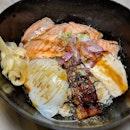 Bonta Four Grilled Don Set from Bonta Bonta, Japan Food Town (@japanfoodtown).