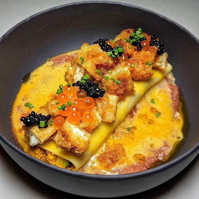 """The Early Fatback: Crab """"Omelette"""" (crispy egg white, yolk sauce, ikura, tomato, paprika) from The Obelisk's new Thai-Spanish menu (@theobelisksg)."""