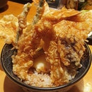 Special TENDON (Tempura on Rice)  Prawn 2pcs, Chicken 2pcs, Half-boiled Egg, Vegetables 4pcs.