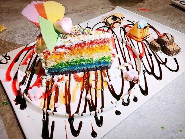 """""""Rainbow Fantasy Cake"""" from Sugar Lips #dessertwiththegirls #whati8today #sugarlips #rainbowfantasycake #burpple #burpplesg #toysfooddiary"""