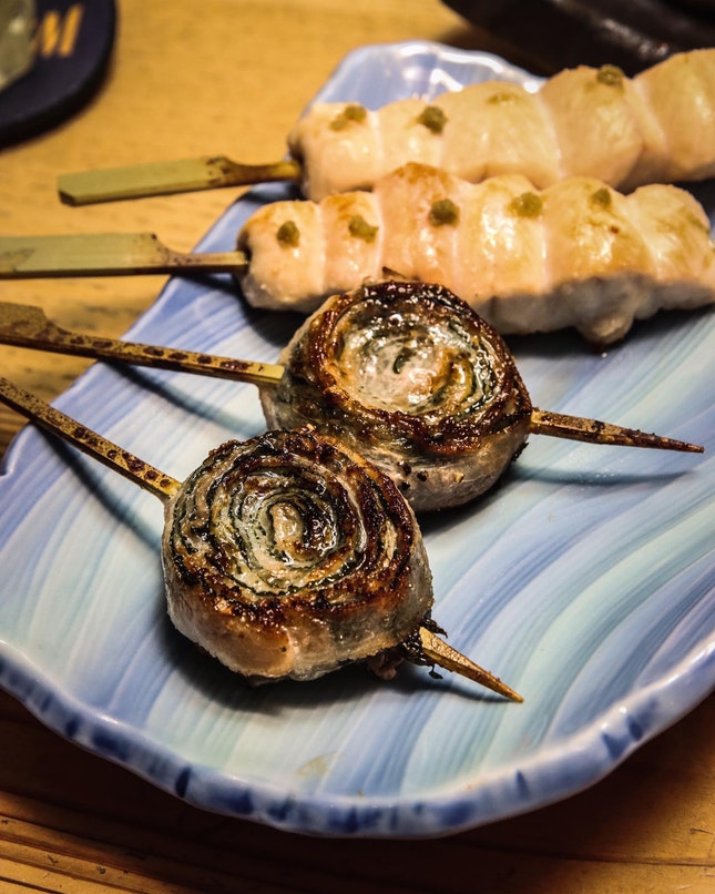 If there's one thing you should definitely have at Yatagarasu, it's their wrapped pork belly skewers.