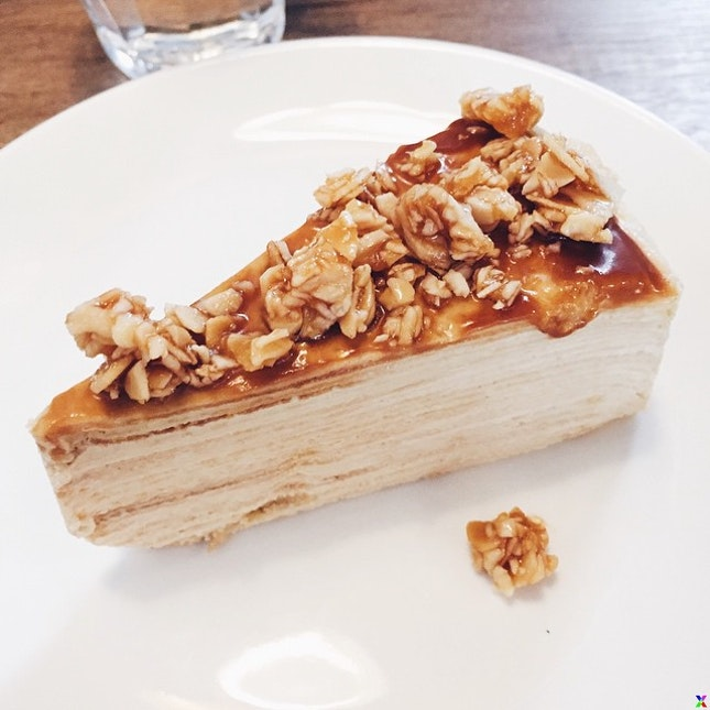To satisfy my sweet tooth - Almond salted caramel mille crepe.