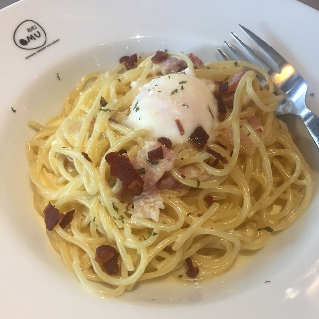 Delicious Carbonara with Poached Egg