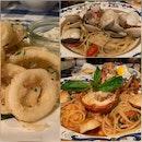 Lobster Spaghetti, Clam Linguine and Fried Calamari