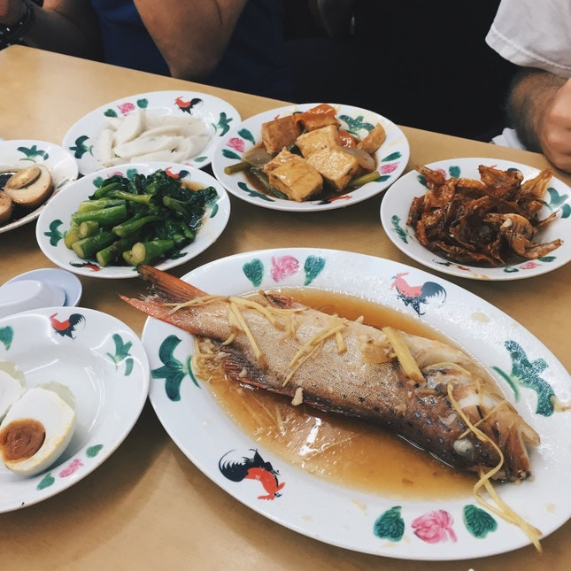 Steamed Fish, Braised Vegetable, Tau Kwa, 咸蛋