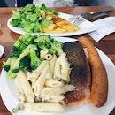 Salmon, German Bratwurst + 2 Side Salads/Pasta, Dory + 1 Side Salad/Pasta