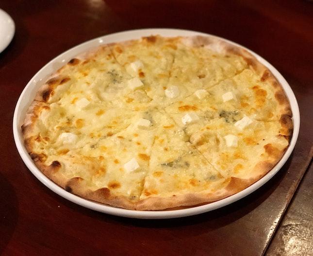 Pizza al Quattro Formaggi, Capellini al Granchio ($25++ ,$27++ U.P.)