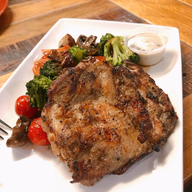Chicken Steak With Buttered Cooked Vegetables (U.P.$19.90; On Burpplebeyond)
